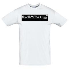 Футболка с принтом Субару (Subaru) белая