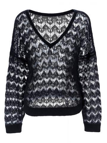 Женский джемпер черного цвета из мохера - фото 1
