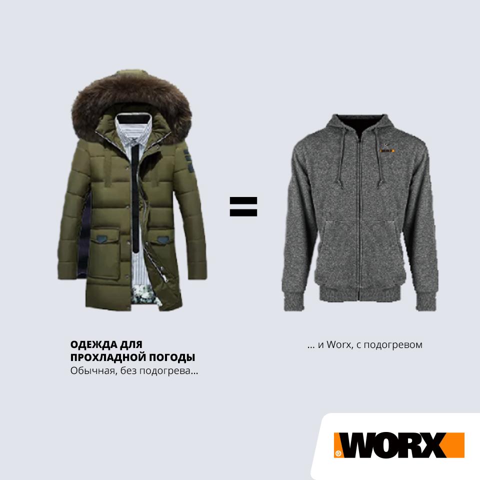 Куртка с подогревом Worx WA4660 S темно-серая