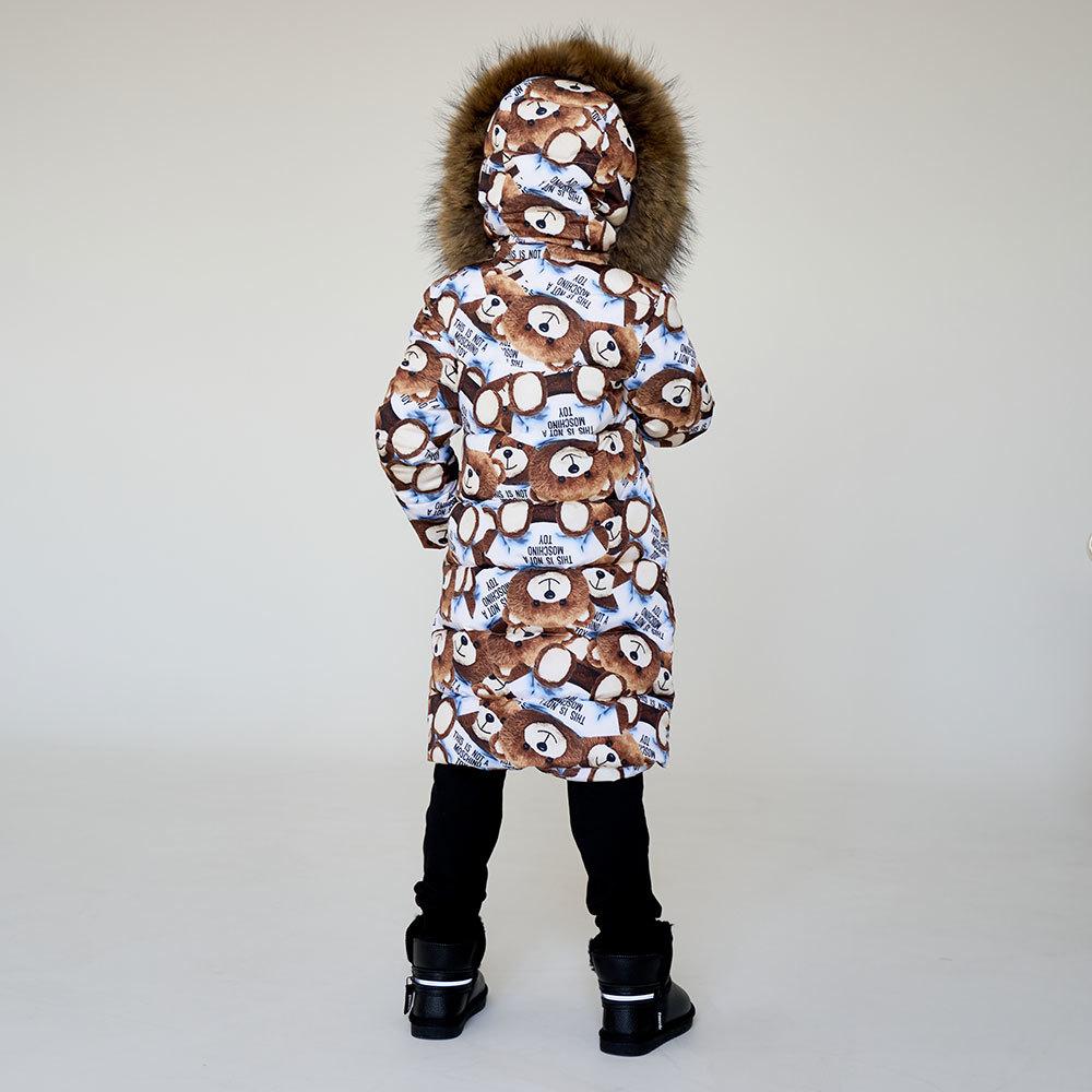 Детское подростковое зимнее пальто с принтом мишки с натуральной опушкой