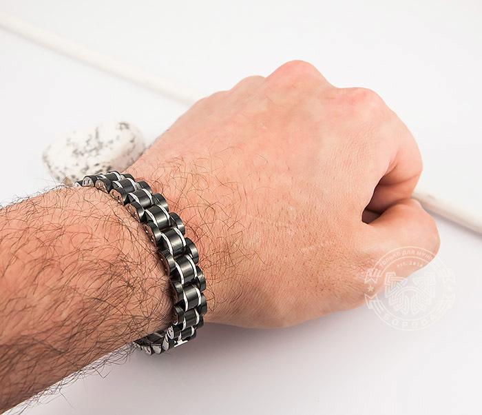 SSBH-2900 Стильный мужской браслет черного цвета из стали, «Spikes» (21 см) фото 08