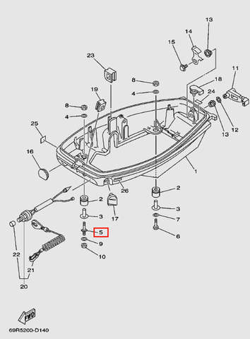 Шпилька М8*46 для лодочного мотора Т30 Sea-PRO (11-5)
