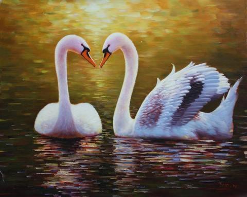 Алмазная Мозаика + Багет 30x40 Лебеди на воде