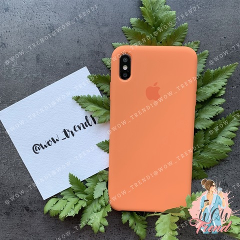 Чехол iPhone X/XS Silicone Case /papaya/ папая original quality