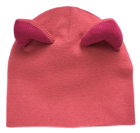 Женская розовая зимняя шапочка с кошачьими ушками