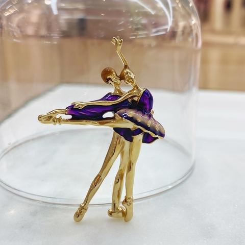 Брошь Балерина И Балерон эмаль фиолетовый
