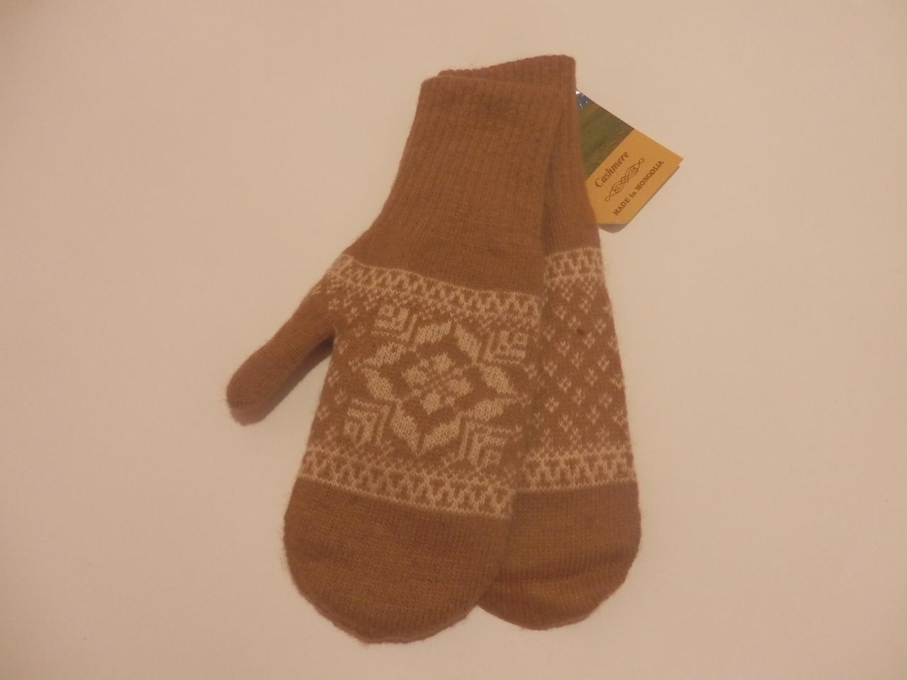 Варежки из шерсти верблюда коричневые фото3