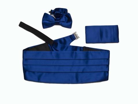 Камербанд (кушак, пояс) La madre синий (ультрамарин) для смокинга+бабочка+платок