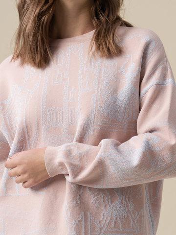 Женский джемпер светло-розового цвета с принтом из вискозы - фото 4