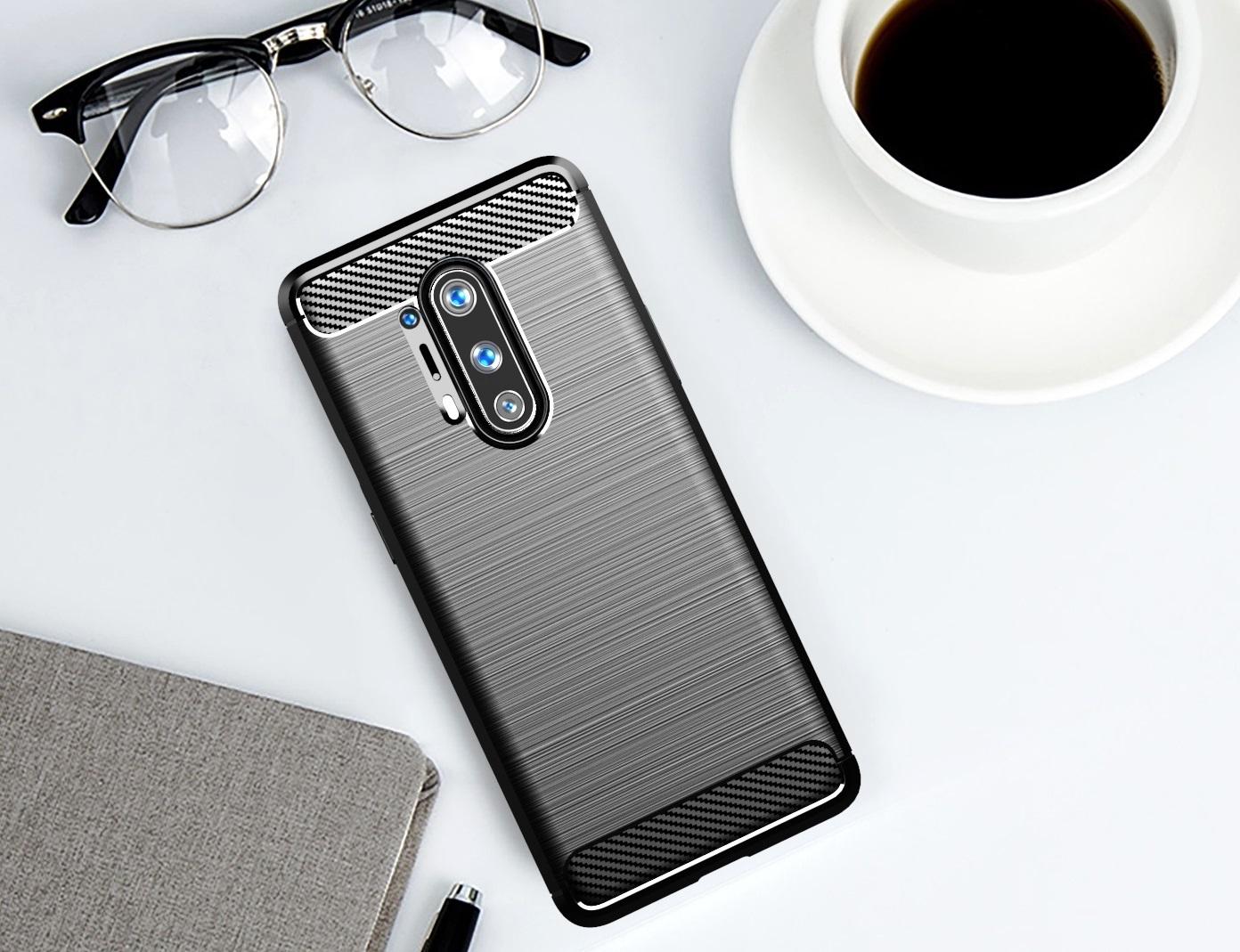 Чехол черного цвета для OnePlus 8 Pro, серии Carbon (карбон дизайн) от Caseport