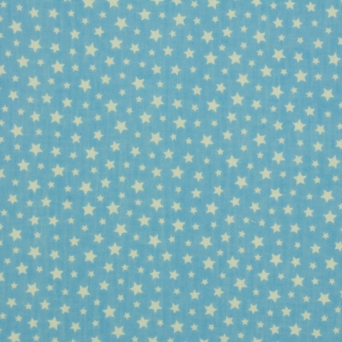 Ткань хлопковая белый звездопад на голубом, отрез 50*80 см