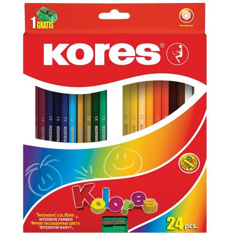 Карандаши цветные Kores 24 цвета шестигранные с точилкой