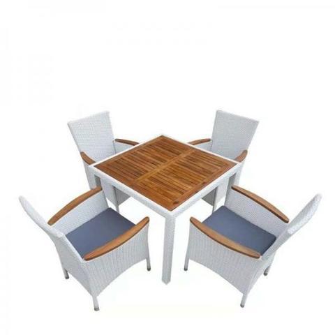 Комплект плетеной мебели AFM-440A 90x90 White (4+1)