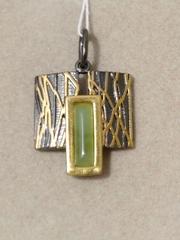 Трия-нефрит(подвеска  из серебра)