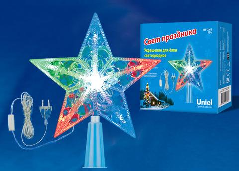 ULD-H1516-010/DTA MULTI STAR Украшение светодиодное для ёлки «Звезда», 15см. 10 светодиодов. Разноцветный свет. Прозрачный провод. TM Uniel.
