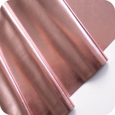 Кожзам метализированный на тканевой основе, цвет розовое золото