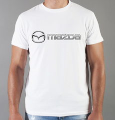 Футболка с принтом Мазда (Mazda) белая 004