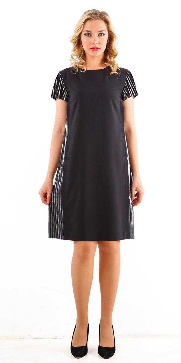 Платье З248-393 - Стильное платье прямого силуэта. Выполнено из тканей-компаньонов: плотного поливискозного трикотажа и тафты с крэш-эффектом.
