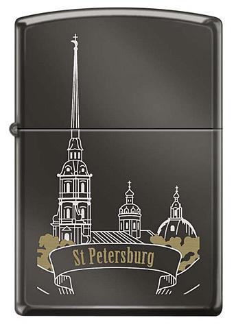 Зажигалка Zippo Петропавловская крепость, латунь/сталь с покрытием Black Ice®, чёрная, 36x12x56 мм