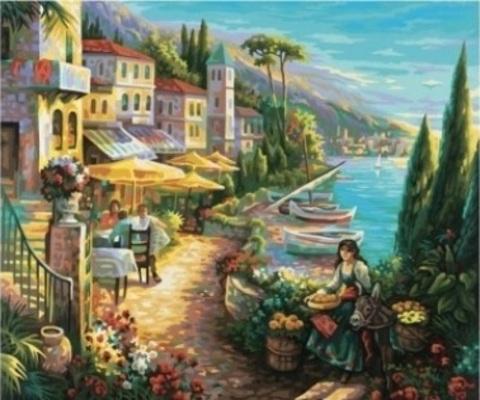 Алмазная Мозаика 30x40  Городок у моря