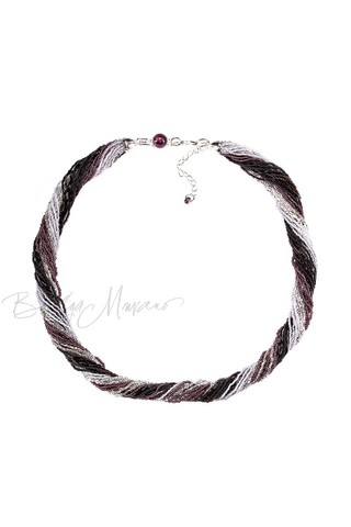 Бисерное ожерелье из 24 нитей черно-фиолетовое