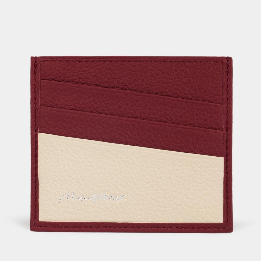 Картхолдер-визитница Carte Bicolor из натуральной кожи теленка, вишневого цвета