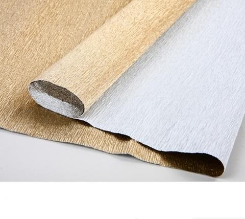 Бумага гофрированная металл, цвет 806 светло-золотой, 180г, 50х250 см, Cartotecnica Rossi (Италия)