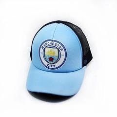 Кепка сетка с логотипом ФК Манчестер Сити (Бейсболка Manchester City) голубая