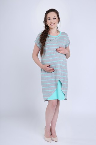 Платье для беременных и кормящих 08721 серый меланж/ментол
