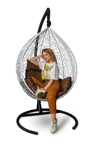Подвесное кресло-кокон SEVILLA белое + каркас + коричневая подушка