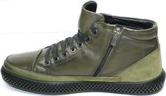 Зимние термо ботинки мужские на молнии Luciano Bellini BC2803 TL Khaki.