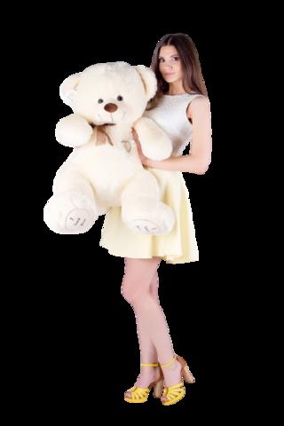 Игрушка Плюшевый медведь Феликс I Love You (120 см). Молочный
