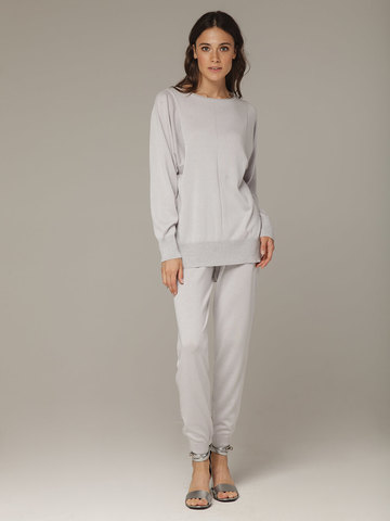 Светло-серый джемпер из шёлка и кашемира, с квадратной линией проймы - фото 6