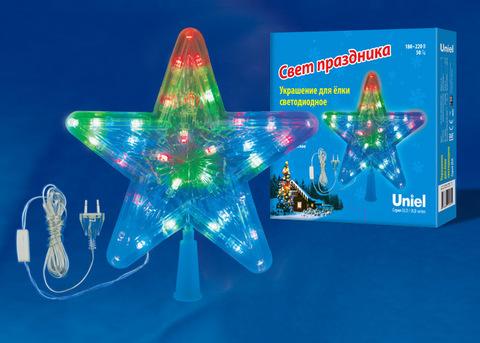 ULD-H2222-030/DTA MULTI STAR-1 Украшение светодиодное для ёлки «Звезда-1», 22 см. 30 светодиодов. Разноцветный свет. Прозрачный провод. TM Uniel.