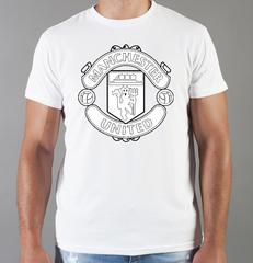 Футболка с принтом FC Manchester United (ФК Манчестер Юнайтед) белая 0013