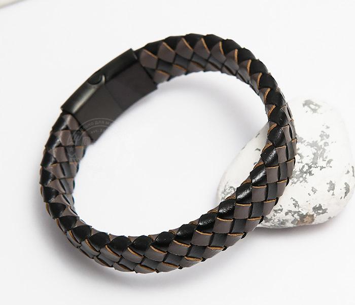 BM450-2 Мужской плетеный браслет из натуральной кожи (20 см)