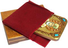 Инкрустированная икона Святитель Николай, архиепископ Мир Ликийский (Мирликийский) 20х15см на натуральном дереве в подарочной коробке