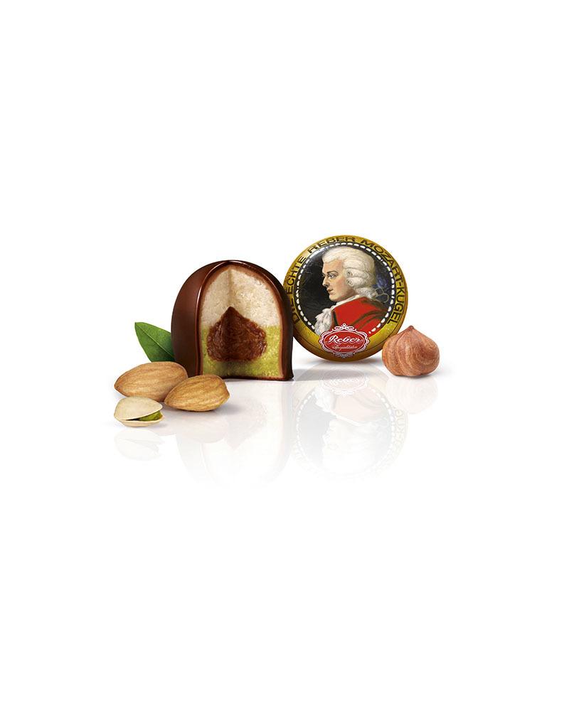 Конфеты Reber из горького шоколада с марципановой начинкой, 20 гр.