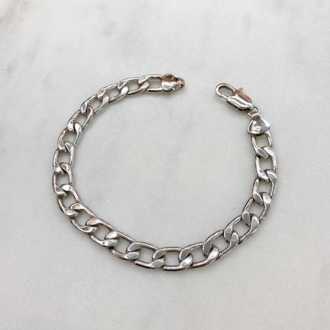 Браслет-цепь якорного плетения (серебристый)