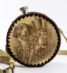 Фляга круглая в кожаном чехле Охота, 500 мл, фото 1