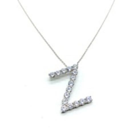Подвеска буква Z из серебра с цирконами бриллиантовой огранки