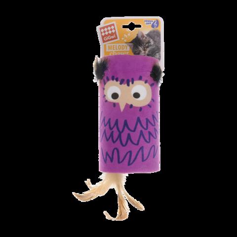 GiGwi Игрушка для кошек Сова цилиндр дразнилка с хвостиком на резинке со звуковым чипом