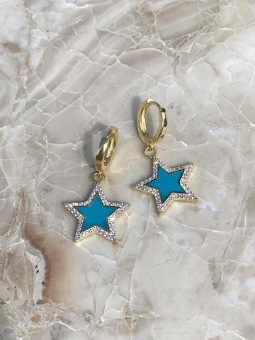 Серьги Стелла из позолоченного серебра, голубая эмаль