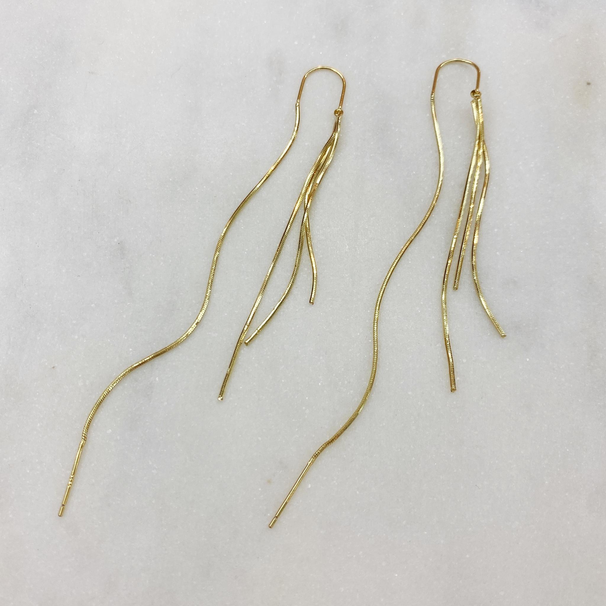 Серьги-протяжки из тонких цепочек (золотистый)