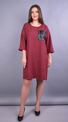 Меліта. Практична сукня для пишних жінок. Бордо.
