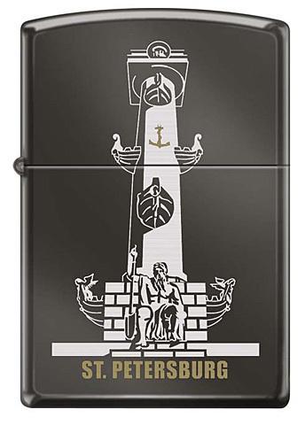 Зажигалка Zippo Ростральная колонна, латунь/сталь с покрытием Black Ice®, чёрная, 36x12x56 мм