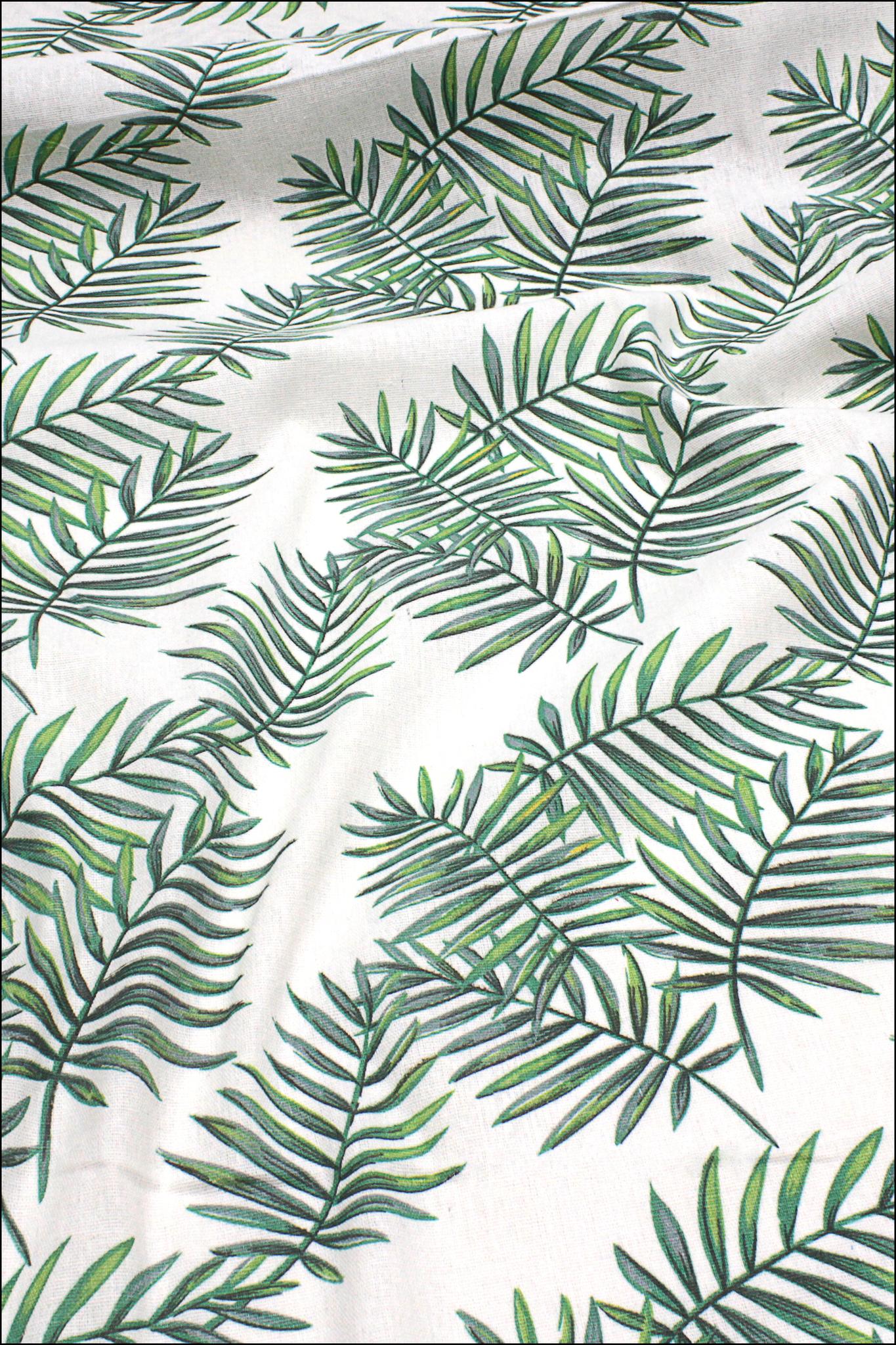 Листья пальмы, хлопок-лен