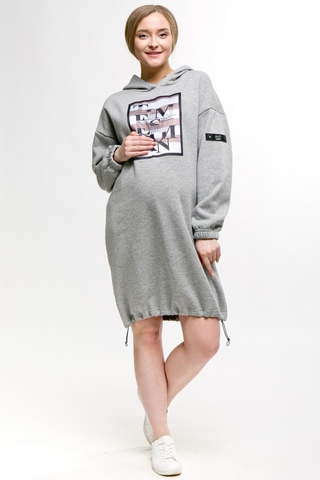 Утепленное платье для беременных 11143 серый