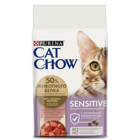Cat Chow Sensitive Сухой корм для взрослых кошек с чувствительным пищеварением с Лососем и Домашней птицей