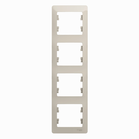 Рамка на 4 поста, вертикальная. Цвет Молочный. Schneider Electric Glossa. GSL000908